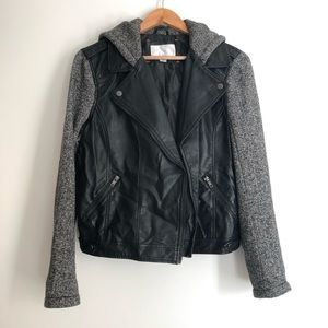 Xhilaration Faux Leather Jacket with Hood
